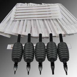 100 TATTOO DISPOSABLE NEEDLES+100 DISPOSABLE GRIPS TUBES 25mm free shipping DHBDZ100+WSZ-1-1*2
