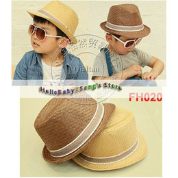 Wholesale Children Summer Fedora Hats with bands Kids Jazz Caps Baby Straw Fedora hats children dicers