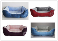 Wholesale New Embroidery Pet Dog Cat Bed House Sofa Nest Warmer Soft Beds Sleep Plush Luxury House Gift cm