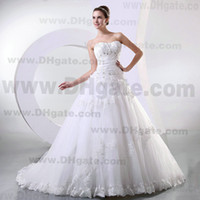 Wholesale New Arrival Strapless Lace Soft Tulle Ruffle Lace Up Wedding Dress With Lace Up Bridal Gown WD183