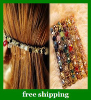 Wholesale Girls Dazzle Beautiful Hairpin Irregular Crystal Gold Thread women Hair clips gifts