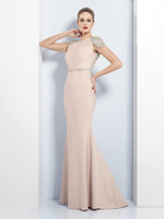 Wholesale Nude Bateau Satin Beaded Cap Sleeves Floor length Mermaid Evening Dress Sexy Prom Dress Mother Gown