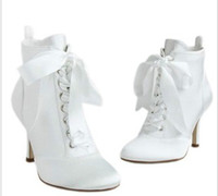 Wholesale High heeled White short boots wedding boots female winter and autumn short boots silk red Ivory