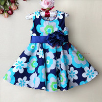 Wholesale 2013 wholesaler Blue Christmas girl Dresses with flower children Dresses for girls pc