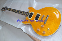 Wholesale New Arrival Orange color left hand yellow fret inlay OEM Electric Guitar