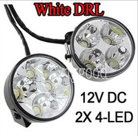 White White 4 LED 2x 4 LED Car Round Daytime Running Fog Light DRL LED LIght Driving Lamp White