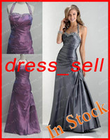 Wholesale Fascinating A Line Bridesmaid Dress In Stock Taffeta Fabric Ankle Length Halter Beaded Sequin Pleat