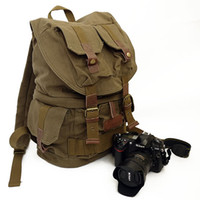 Wholesale F2001 Canvas DSLR Camera Bag Backpack Rucksack Bag Army Green
