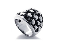 Wholesale Exclusive men s rings titanium stainless steel cluster skull ring punk mens jewelry