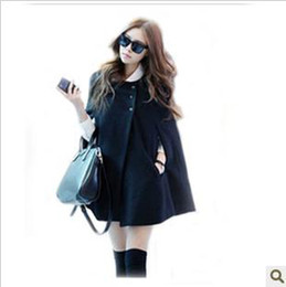 Wholesale New style women Poncho Korean Wool Coat Cape style Shawl coat Single breasted Black Poncho coats