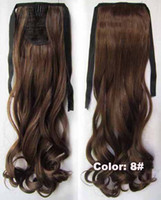 Wholesale curly synthetic clip in hair extensions ponytail human looking free new quot pc