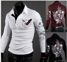 Wholesale Eagle Wings Tattoo Print Long Sleeve Shirt Lapel Brand poloshirt Global send