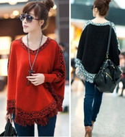 Wholesale Fashion Spring Autumn Women Ladies Knitted Pullover Poncho Sweater V Neck Orange Black