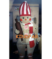 Wholesale Gingerbread Men Mascot Costume Adult Size Gingerbread Men Christmas Fancy Dress Cartoon Character Outfit Suit