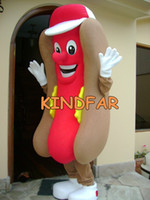 Wholesale HOT DOG HOTDOG MASCOT COSTUME Adult Size Fancy Dress Cartoon Character Party Outfit Suit Free Ship