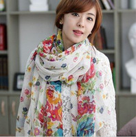 Wholesale New design Broken beautiful female long scarf flowers bloom beach towel summer shaw ladies scarf l LRG3176