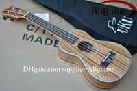 Wholesale Deluxe inch ukulele guitar Tiger colour solid spruce amp saplli wood back frets with Gigbag