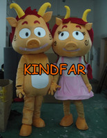 Wholesale Couple Piggy Mascot Costume Pig Piglet Porket Small Suckling Fancy Dress Cartoon Outfit Suit Free Sh