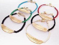 Wholesale Fashion women Punk Handmade Cotton Weave Gold Feather Bracelet candy color jewelry gift more colors