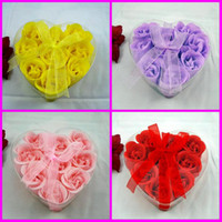 Wholesale 180pcs Heart Shape Rose Soaps Flower Packed Wedding Supplies Gifts Event Party Supplies Favor
