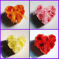 Wholesale 120pcs Heart Shape Rose Soaps Flower Packed Wedding Supplies Gifts Event Party Supplies Favor