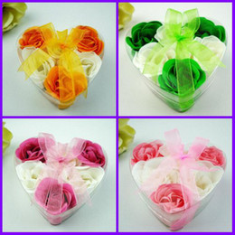 Wholesale 120pcs Heart Shape Rose Soaps Flower Packed Wedding Supplies Gifts Event Party Supplies Favor color
