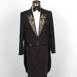 Wholesale Gold thread neckline embroidered men s tuxedo magic direct service black white Theatrical costume