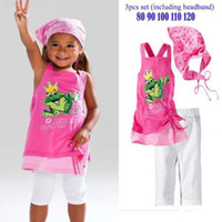 Girl baby girl frog - Hot Sale New Summer Girl Frog Baby Beach sets shirt pants headband