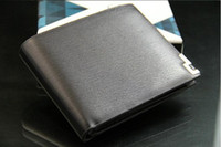 Wholesale Free Ship Mens Wallet Leather Pockets Card Bags Clutch Center Bifold Purse Black