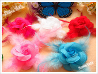 Wholesale 2 inch Small Rose Feather Satin Flower without Hair Bow Barrettes Baby Girl Hair Accessories