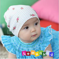 Wholesale Girls Cotton Beanie Baby Sweet Dots Rabbits Printed Hat Kids Infants Embroidery Label Dome Cap Toddl