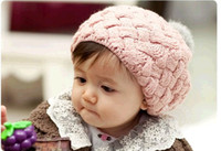 Baby Zhejiang China (Mainland) Solid Free Shipping New Cute Baby Kids Winter Knit Crochet Beanie Girls Boys Hat Gift 3Colors Z164