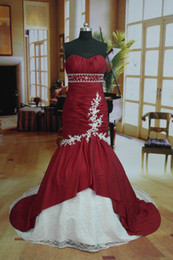 Wholesale 3 days Dispatch Mermaid Fishtail In Stock White And Red Strapless Prom Dress Wedding Dress US8 US16
