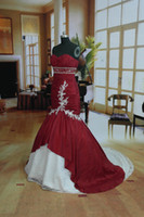 Wholesale Fast Delivery Days Dispatch Mermaid Strapless Red And White Wedding Dress In Stock US8 US16