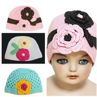 Cotton Baby Guangdong China (Mainland) 1T-2T Toddler Baby Beanie Flowers Hat Crochet Handmade kid Free shipping