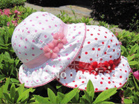 Girl Cotton Bucket Hats Children's hats Bow kids Sun hat Bucket Hats 1 color 8 pcs lot 11308