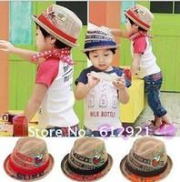 Fedoras Print Children Retail Children Hat Fashion Kids Jazz Hats Cap for babies ear hat Korea Red Blue Black Brown Straw F