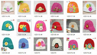 Baby China (Mainland) Floral DHL free shipping mixed 22 styles baby cashmere handmade flower crochet hats beanies kid's floral kn