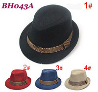 Wholesale Kids fedora hat with belt Gangster hats children top hat boys spring caps jazz cap BH043A
