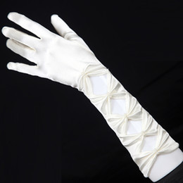Wholesale GK White Evening Party Prom Bridal Wedding Fingered Gloves CL3127