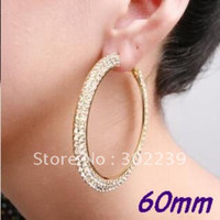 Wholesale CZ Gold polish Double rows mm Basketball wives hoop earrings crystals pairs E7