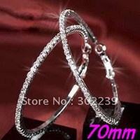Wholesale CZ Basketball Wives Hoop Earrings Crystals Silver Polish Row mm Pairs JE7009