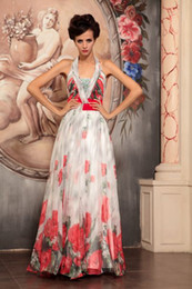 Wholesale 2013 New Fashion Chiffon A Line Sleeveless Halter Beaded Print Long Mother of the Bride Dresses