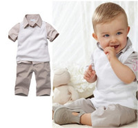 Boy baby formal shirts - Summer Boy Children Clothing Kids Suit Boy s collar lattice T shirt shorts pieces baby Outfits