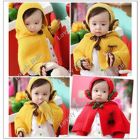 Wholesale New cap Cape cloak Kids Girls Baby Hooded Cape Wool Earcap Glove Sweater Three piece Colors Free S