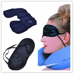 Wholesale 3 in outdoor camping car Travel Kit Set Inflatable neck rest Pillow cushion Eye Shade Mask Blinder Ear Plugs