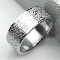 Wholesale Titanium cross letter silver Ring necklace pendant men Fashion Jewelry