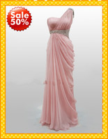actual images - 2016 Actual Image Evening Dresses New Pink One shoulder Sequins Pleated Long Chiffon Crystal Cheap Evening Prom bridemaid Party Formal Gown