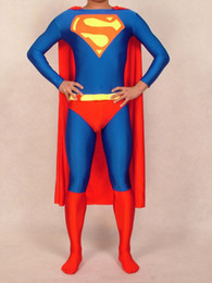 Wholesale Superman Costumes Lycra Zentai spandex Unisex superhero catsuit with cape