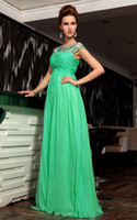Reference Images Bateau Chiffon Charming Green A-line Formal Evening Dress Cap Sleeves Pleats Beads Rhinestones Long Party Gowns C12